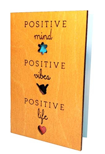 Real Wood Positive Life Mind Vibes Inspirational Motivational Quote Greeting Card Spring Birthday Father's Day Wooden Gift Retirement Thank You Just Because Graduation Wooden Gift for Student Mother Him Her Friend Sister Aunt e