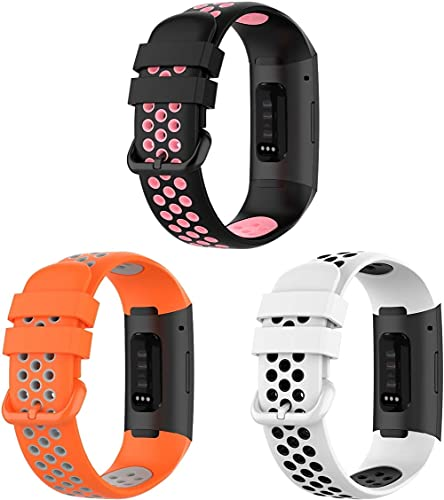 Gransho Repuesto de Correa de Reloj de Silicona Compatible con Fitbit Charge 4 / Charge 4 SE/Charge 3 SE/Charge 3, Caucho Fácil de Abrochar para Relojes y Smartwatch (3-Pack G)