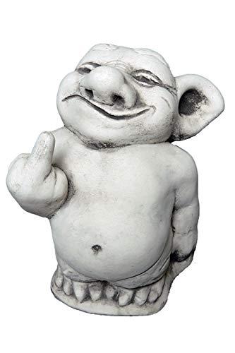 gartendekoparadies.de Massive Steinfigur lustiger Troll Mittelfinger Stinkefinger aus Steinguss frostfest