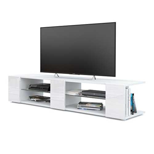 Mesa para TV Lowboard Movie V2, Cuerpo en Blanco Mate/Frentes en Blanco de Alto Brillo