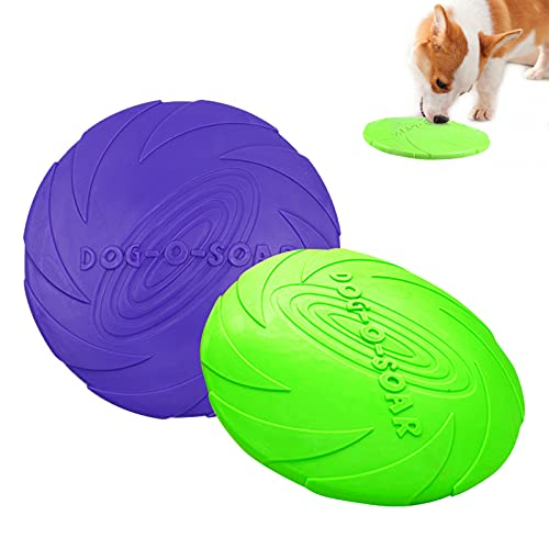 2 Frisbee de Perro,Perros Interactivos Frisbee,Frisbee de Goma, Disco Volador para Mascotas Perros, para Adiestramiento de Perros Juguetes de Tiro, Captura y Juego