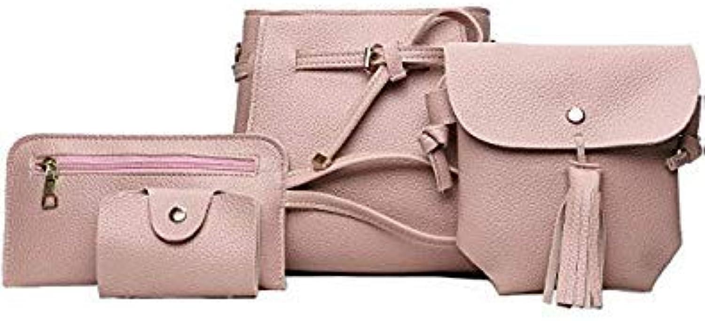 Bloomerang 4pcs Women Bag Set Leather Handbag Casual Totes Shoulder Creddy Bags for Women Tassel Messenger Bag Clutch 6colors color Pink Bags Mini(Max Length 20cm)