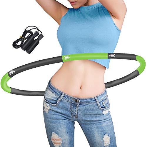 Hula Hoop zur Gewichtsreduktion, 6-8 Abschnitte Abnehmbarer Hoola Hoop Reifen Geeignet mit Seilspringen, Einstellbares Gewicht 19-35 in Gewichten beschwerter Hula-Hoop-Reifen für Fitness (Grün + Grau)