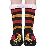Womens Sherpa Winter Fleece Lining Knit Animal Socks Non Slip Warm Fuzzy Cozy Slipper Socks (Cock)