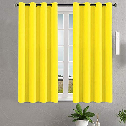 Blackout Curtains for Bedroom Curtains 45 Inch Length 2 Planes Living Room Curtains & Drapes Room Darkening Short Window Curtains Yellow Outlet Curtains Thermal Blocking Grommet Soundproof Drapery