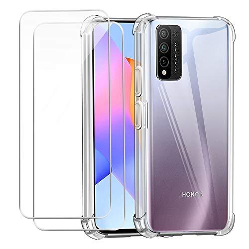 """Reshias Cover per Huawei Honor 10X Lite, Morbido Trasparente TPU Anti-Caduta Protettiva Custodia con Due Vetro Temperato Pellicola Protettiva per Huawei Honor 10X Lite 6.67"""""""