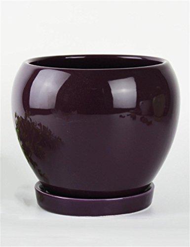 XYZ Tondo in ceramica Vasi di fiori con vassoio, Holder Succulente piante, fioriere desktop, Planter Fiore delicato durevole ( colore : Viola )