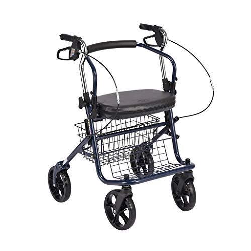 CART Wagen, Einkaufswagen Leichtgewichtiger Rollator Walker 4-Rad Faltbarer Einkaufstasche Trolley Carts Aufbewahrungstasche Mit Tragbarer Faltbarer Faltbarer Sitzbremse, Maximale Belastung 100 Kg,Ei