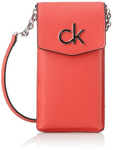 Calvin Klein Damen Re-lock Phone Pouch Münzbörse, Rot (Coral), 1x1x1 cm