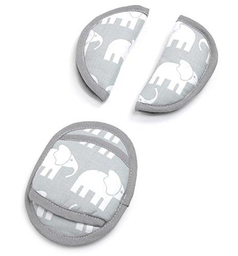 Universal Gurtpolster Kinder Priebes Philip Gurtpolster-Set für Babyschale Gurtpolster Kindersitz für Kinder & Babys, Design:elefanten grau