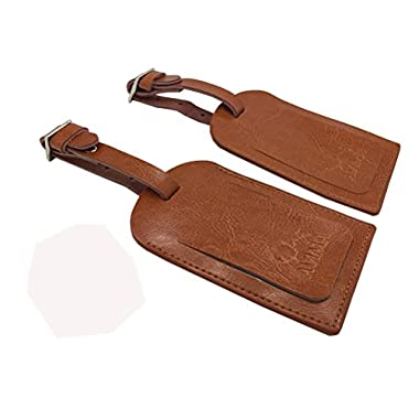 AVIMA BEST Premium Leather Luggage Tags 2pcs Set With Address Id Label - Brown