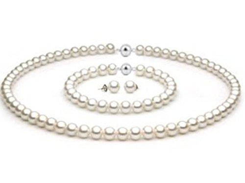 Set di gioielli con collana di perle e bracciale di perle, orecchini in argento Sterling 925, perle di acqua dolce, chiusura magnetica, da 6,5fino a 7mm, bianco, 3 pezzi