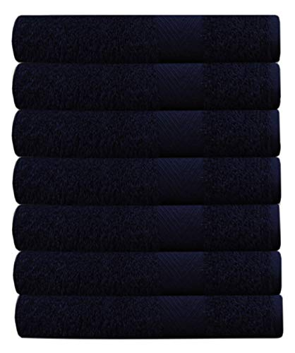 COTTON CRAFT Simplicity Ringspun Cotton Set of 7 Lightweight Bath Towels, 27 inch x 52 inch, Navy