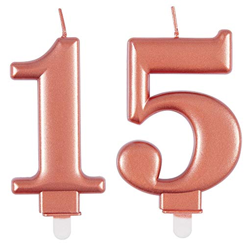 Metallic Rose Gold Birthday Anniversary Cake Candle Number 15 Rose Gold