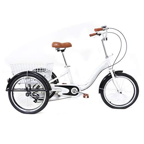 Fetcoi Triciclo de adulto de 20 pulgadas con cesta de la compra, bicicleta cargo para personas mayores, mujeres y hombres (color blanco)