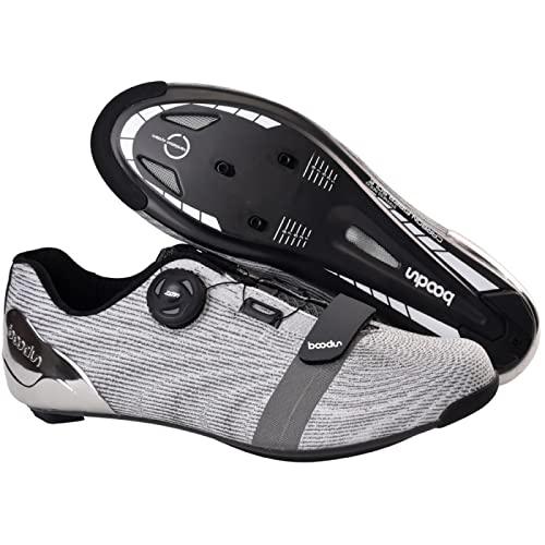 ASORT Calzado de Ciclismo para Hombre, Calzado de Bicicleta de Carretera de Fibra de Carbono Transpirable Calzado de Bicicleta para Interior y Exterior para Hombre,Silver-40EU