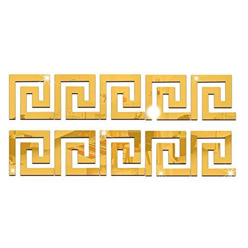 Konesky 10 Pegatinas de Pared de Espejo acrílico de Cintura geométrica, Pegatinas de Pared extraíbles con Efecto de Espejo, para habitación, Hotel, casa de huéspedes, Fiesta, Dorado