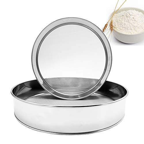 Sieve 8-Inch,10-Inch Flour Sifter for Baking,Stainless Steel Flour Sifter,Stainless Steel Sifter Round Flour Sieve for Bake Decorate Cakes, Pies, Pastries, Cupcakes