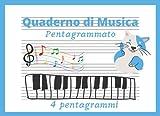 Quaderno di Musica Pentagrammato: per Bambini. Formato piccolo A5 orizzontale, 4 pentagrammi per pagina, pentagramma grande