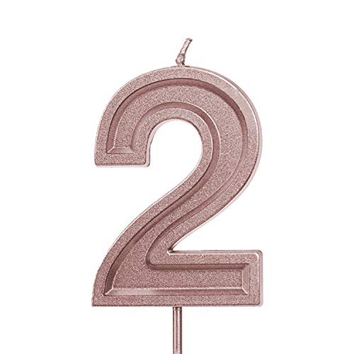 LUTER 2.76 Inches Large Rose Gold Glitter Birthday Candles Birthday Cake Candles Number Candles Cake Topper Decoration for Wedding Party Kids Adults, Number 2