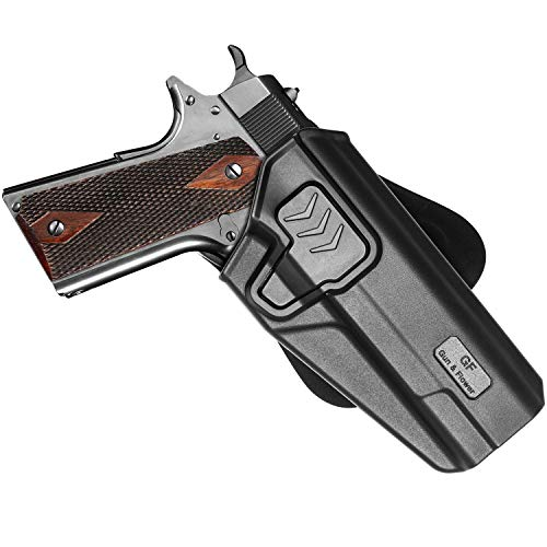 """1911 Holster, OWB 1911 5"""" Holster Compatible with Colt 1911-Elite Force-Kimber-Springfield-RIA-S&W-Sig-Taurus-Rock Island & More, Holster Belt Clip & Paddle 1911 .45 Pistol Right Hand-Adj. Cant"""