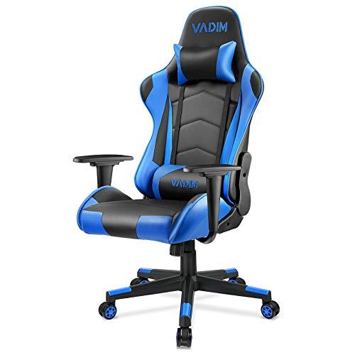 VADIM Gaming Stuhl Bürostuhl Ergonomischer Stuhl Lendenkissen Racing PU Leder mit Kopfstütze Lendenstürtze Belastbarkeit 150kg
