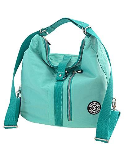 Damen Wickeltasche für Damen Umhängetaschen Multifunktionsrucksack Damen-Nylontaschen mit Reißverschluss Grün