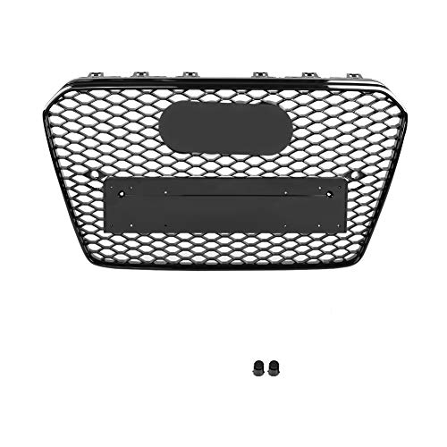 Parrilla del parachoques delantero, para RS5 Estilo Frente Deporte Malla hexagonal Panal Capucha Grill Negro brillante para A5 / S5 B8.5 13-16