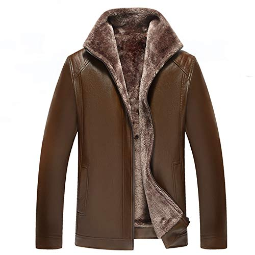 NLZQ Mens Long Sleeve Lapel New Winter Thicken Warm Full-Zip Leather Jacket Fur Lined Outfit with Pockets Comfortable Elegant XXL