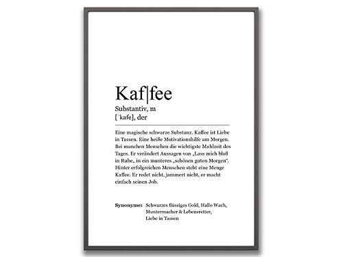 Ritter Mediendesign Kaffee Wörterbuch Bild Wandbild Kunstdruck Poster Din A4 Dekoration Geschenkidee Küche Wohnzimmer