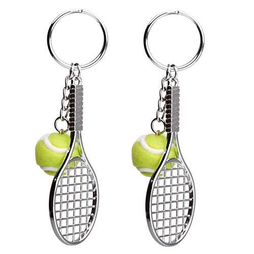 EQLEF Schlüsselanhänger Metall Tennis Schläger Schlüsselring Keychain Tennisball 2 PCS