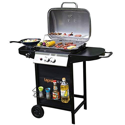 TRPYA Hout, balkon in de buitenlucht, gasbarbecue, Amerikaanse oven, gasbarbecue, geschikt voor 3-5 personen (kleur: zwart, maat: 105 * 37,5 * 90 cm)