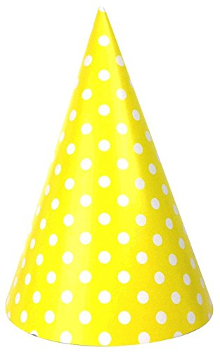 Just Artifacts 12pc Childrens Party Cone Hats (Polka Dot, Lemon Yellow)