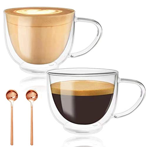 Double Walled Glass Coffee Mugs, Espresso Cups, Drinking Glasses for Coffee&Tea, Insulated Glass Mugs with Large Handle, Clear Mugs Each 200ml, Set of 2, Perfect for Espresso, Latte, Cappuccinos