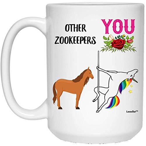 N\A Tasse à café Blanche drôle de Licorne de Meilleur Gardien de Zoo