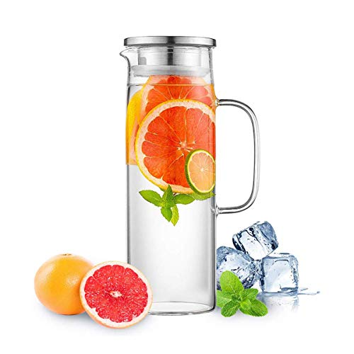 Hwagui - Best Heat Resistant Glass Pitcher with Stainless Steel Lid, Water Carafe with Handle, Good Beverage Pitcher for Homemade Juice and Iced Tea, 1000ml/34oz