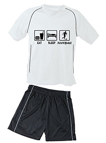 Coole-Fun-T-Shirts TRIKOTSET mit DEINEM Namen + Nummer ! Fussball EAT Sleep Football Kinder Trikot + Hose Weiss-schwarz, 122-128 cm