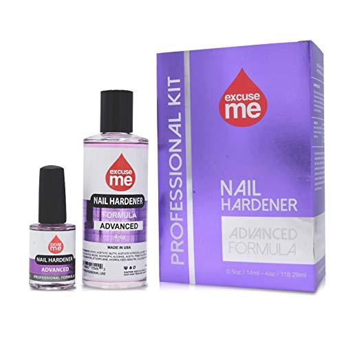 Excuse Me Nail Hardener Advanced Formula Strengthener Nail Growth System 4 oz & 0.5 oz Kit