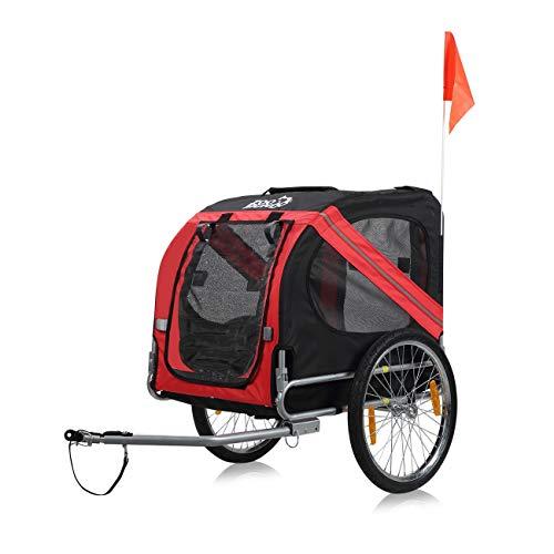 zoomundo Rimorchio per Cani Animali Passeggino Bicicletta - in Rosso/Nero - Silver Frame