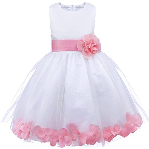 iEFiEL Mädchen Kleid Pinzessin Blumen-Mädchen Kinder Weiß Kleid Hochzeit Festkleid Kommunionkleid 92 98 104 110 116 128 140 152 164 (152, Hell Rosa)