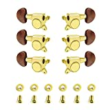 Guitar Tuning Pegs, Closed, Golden Body and Brown Ends, Round Heads, Guitar Tuning Machines, for Acoustic Guitar