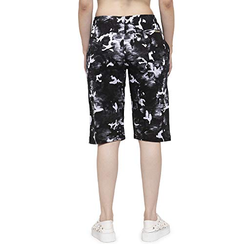 UZARUS Women's Girls Cotton Three Fourth Capri Shorts with Two Zippered Pockets Blue