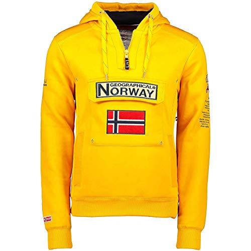 Geographical Norway GYMCLASS Men - Sudadera Capucha Bolsillos Hombre - Chaqueta Casual Hombres Abrigo - Camisetas Camisa Manga Larga - Hoodie Deportiva Regular Fitness Jacket Tops (Mostaza L)