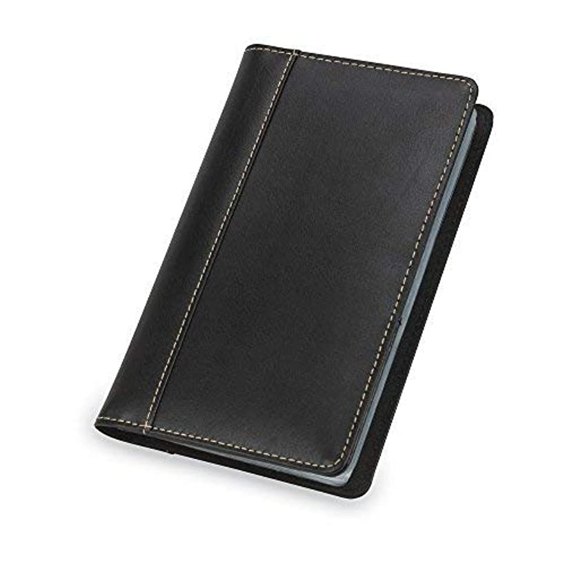 Samsill Contrast Stitch Leather Business Card Holder/Organizer for Men & Women, Book Holds 120 Business or Credit Cards (Black)