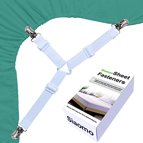 Bed Sheet Holders Suspenders Straps - 3-Way Triangle Sheet Fasteners Fitted Sheet Corner Clip Holder Adjustable Elastic Sheet Holder Straps Grippers,White