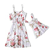 IFFEI Mommy and Me Dress Strappy Summer Matching Dress Floral Printed for Mother and Daughter Toddler Girl: 2 Years White