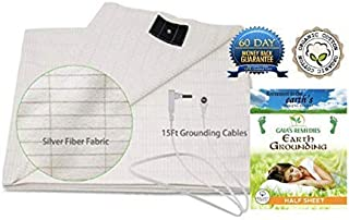 Gaia's Remedies Earthing Grounding Half Sheet with Cord • Fits King or Queen • Organic Cotton - Silver Antimicrobial Fiber. EMF Protection - Sleep Therapy, Relieve Pain, Inflammation, Beige color