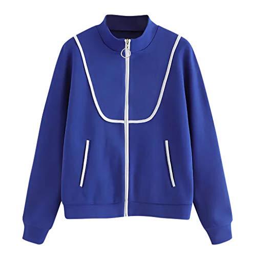HEVÜY Damen Jacke Übergangsjacke Leichte Jacke Casual Damen Casual Jacke Bomberjacke Reißverschluss Stehkragen Outwear Kurz Coat Herbst Frühling