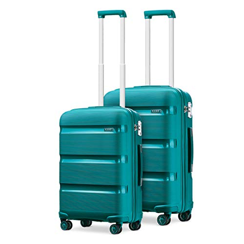Kono Sets 2 Piece Luggage Polypropylene Suitcase 20'+24' Lightweight Hard Shell Travel Trolley with TSA Lock Spinner Wheels (Turquoise)