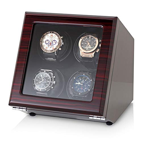 Quad Watch Winder with Motor-Stop Option and 4 Predefined Programs (Ebony)